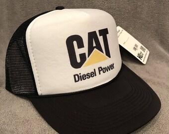 b78591a0046 CAT Diesel Power Trucker Hat Vintage Caterpillar Tractor Snapback Cap 2311