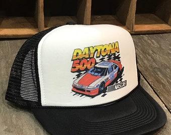 258029513929f Daytona 500 Nascar Race Trucker Hat Vintage 90 s Style Black Mesh Cap