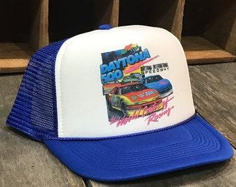 142a47e6142319 Daytona 500 Nascar Race Trucker Hat Vintage 90's Style Blue Mesh Cap