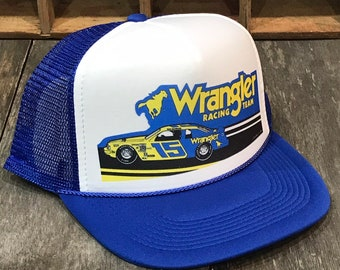 a86efeb0ede Wrangler Racing Team Vintage 80 s Trucker Hat Nascar Dale Earnhardt Racing  Cap Blue