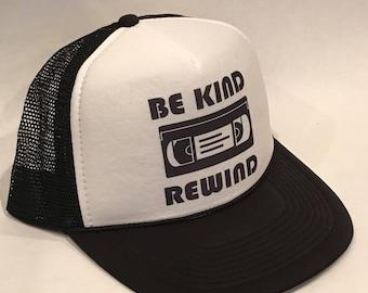 d32ba8a42273d9 Vintage Be Kind Rewind VHS Trucker Hat Comedy Humor Snapback Funny Cap