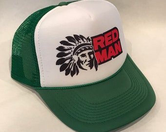 927e8095 Red Man Chewing Tobacco Trucker Hat Vintage Snapback Cap Green Indian Chew  Logo