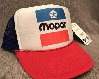 84bd53778b5 Mopar Trucker Hat Vintage Dodge Red White Blue Mesh Snapback Cap! 2154