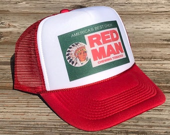279a2ec35af Red Man Chew Pouch Tobacco Trucker Hat Vintage Snapback Chewing Cap Red  Indian