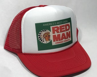 5cc8d6238efe1 Red Man Chew Tobacco Trucker Hat Vintage Snapback Chewing Cap Red Indian