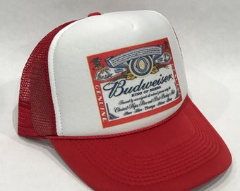 32b0de9900a Budweiser King of Beers Trucker Hat Bud Light Vintage 80 s Snapback Mesh  Beer Cap Red