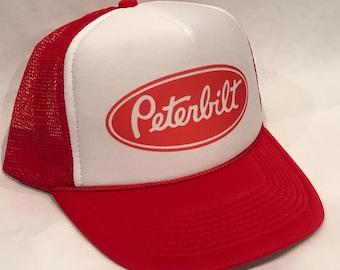 cf1504e9d0b15 Peterbilt Red Trucker Hat Semi Truck Big Rig Vintage SnapBack Cap