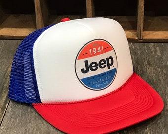 4fc115d3f1fa9 Jeep Since 1941 American Flag 4x4 Offroad Trucker Hat 80 s Vintage Style  Snapback RWB