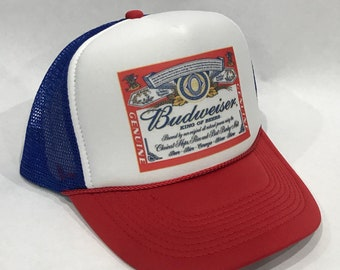 59b2f3065ca13 Budweiser King of Beers Trucker Hat Bud Light Vintage 80 s Snapback Mesh  Beer Cap Red White Blue