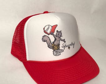 24dff1c3 Spunky Squirrel Trucker Hat Only US Forest Service National Park Mascot  Before Smokey the Bear Cap