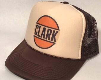 614cd7e8fed0a Clark Gas Station Trucker Hat Vintage Mesh Snapback Cap! Gasoline Oil  Advertising Globe Lid! Brown