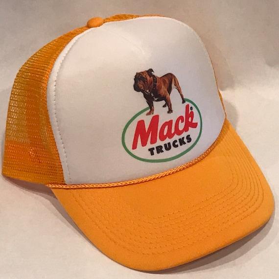 Mack Trucks Trucker Hat Old Bulldog Logo Vintage Yellow  6dcb491db35