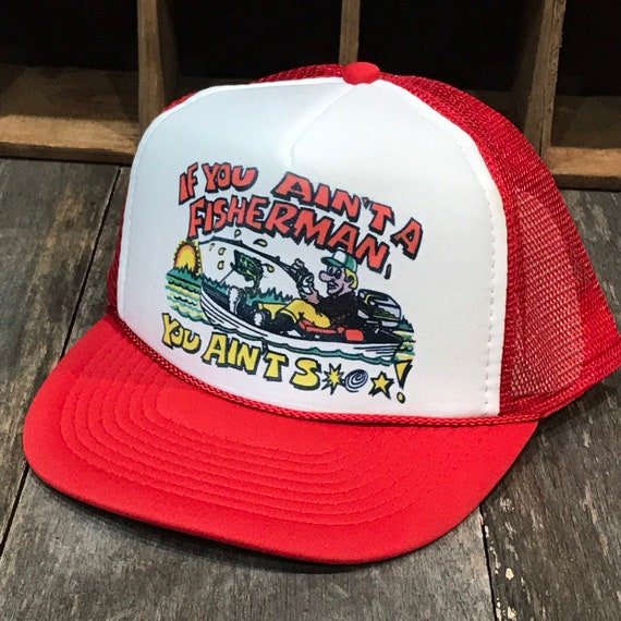 Funny Trout Bass Or Salmon Fishing Derby Trucker Hat Vintage 80s Style Red White