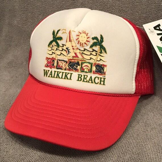 Waikiki Beach Hawaii Foam Trucker Hat Vintage Red Mesh  a603fec5cda