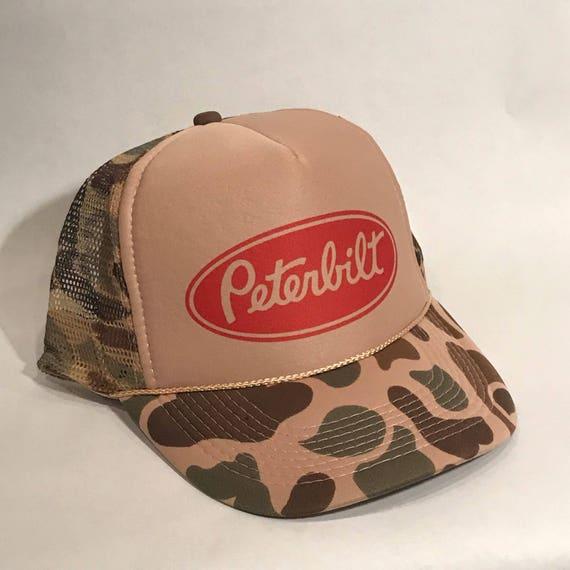 Peterbilt Camo Trucker Hat Semi Truck Big Rig Vintage  a7da0026fa3