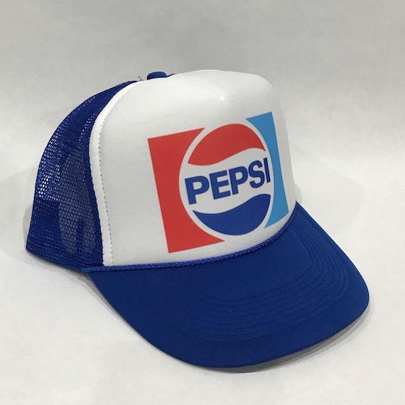 64f118a1cf2d6 Pepsi Cola Soda Pop Trucker Hat Vintage 80 s Snapback Mesh