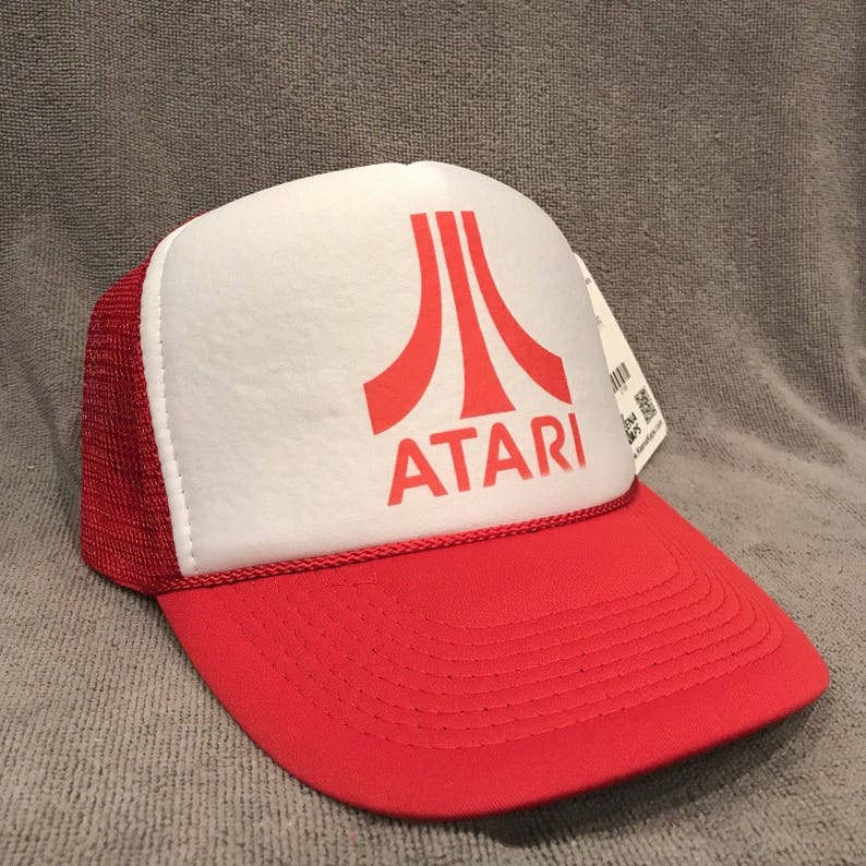 detailed look e11c7 9866b ATARI Trucker Hat Old Video Game Logo Vintage Snapback Cap   Etsy