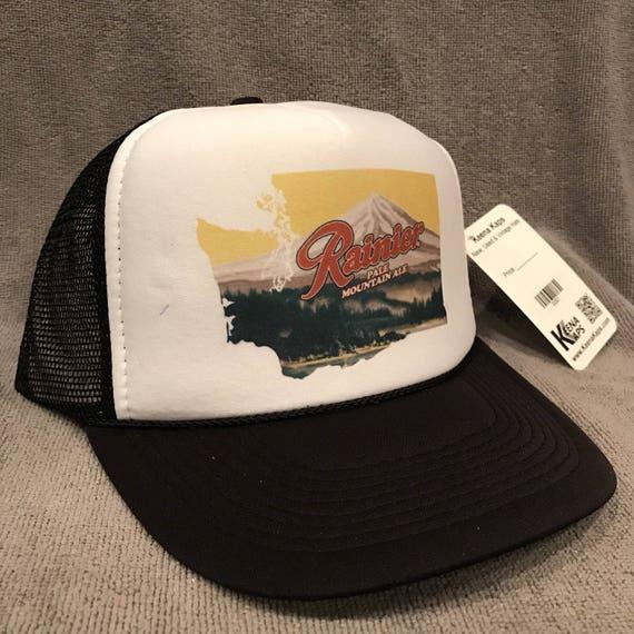 Rainier Beer Trucker Hat Vintage Style Mesh Back Snapback Cap  ed880efb235