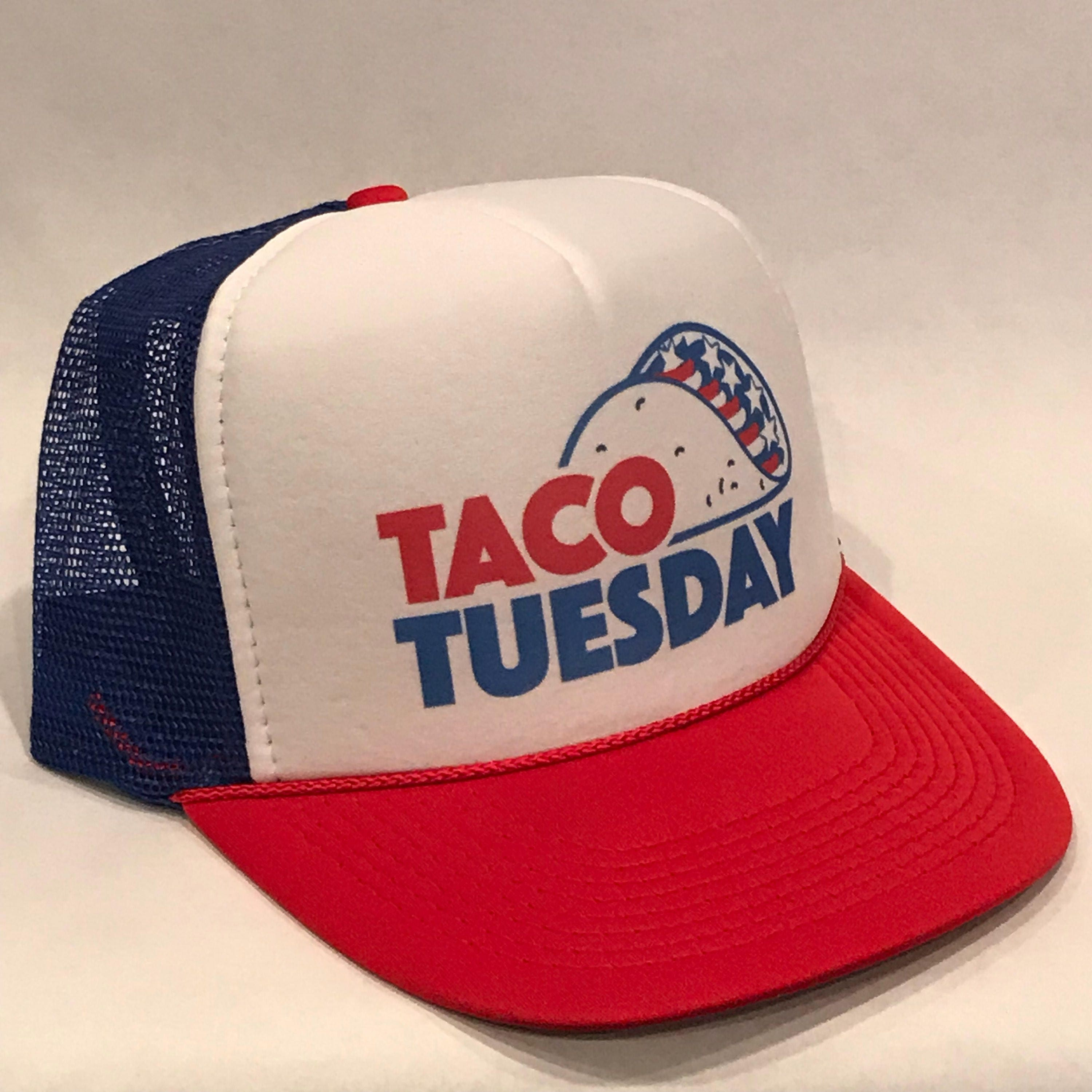 d70dc174f Taco Tuesday Trucker Hat Merica Patriotic American Flag Red White & Blue  Bell