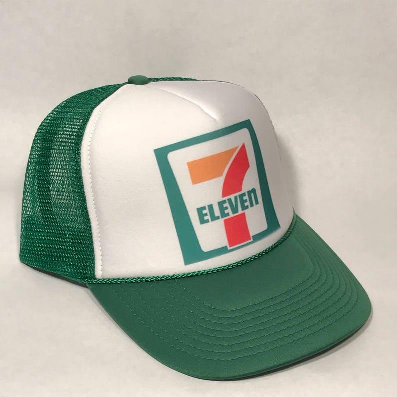 6eb019b37 7-Eleven 7 11 Store Gas Station Trucker Hat Vintage Mesh Snapback Cap!  Gasoline Oil Advertising Globe Lid! Slushy