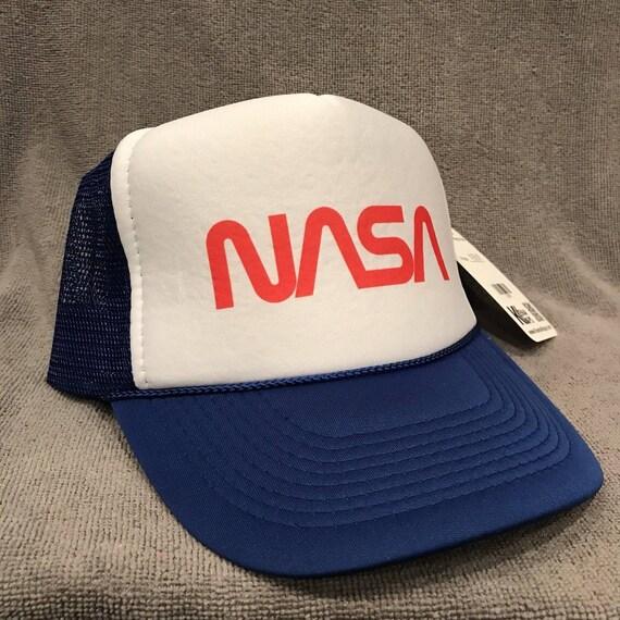 1b991450928 NASA Trucker Hat Space Program Old Logo Vintage Snapback Cap