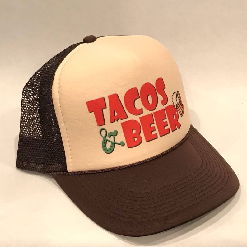 c8ce821babf Taco Tuesday Trucker Hat Tacos and Beer Snapback Cap Brown