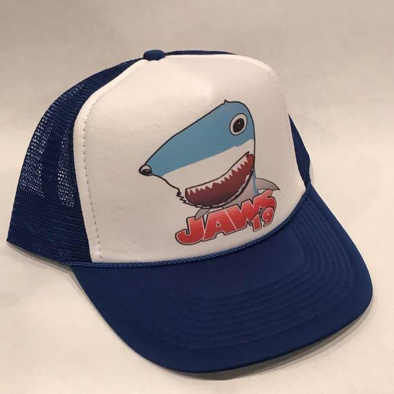 Jaws Movie Trucker Hat Shark Promo Logo 2160 Blue Vintage Style Snapback Cap