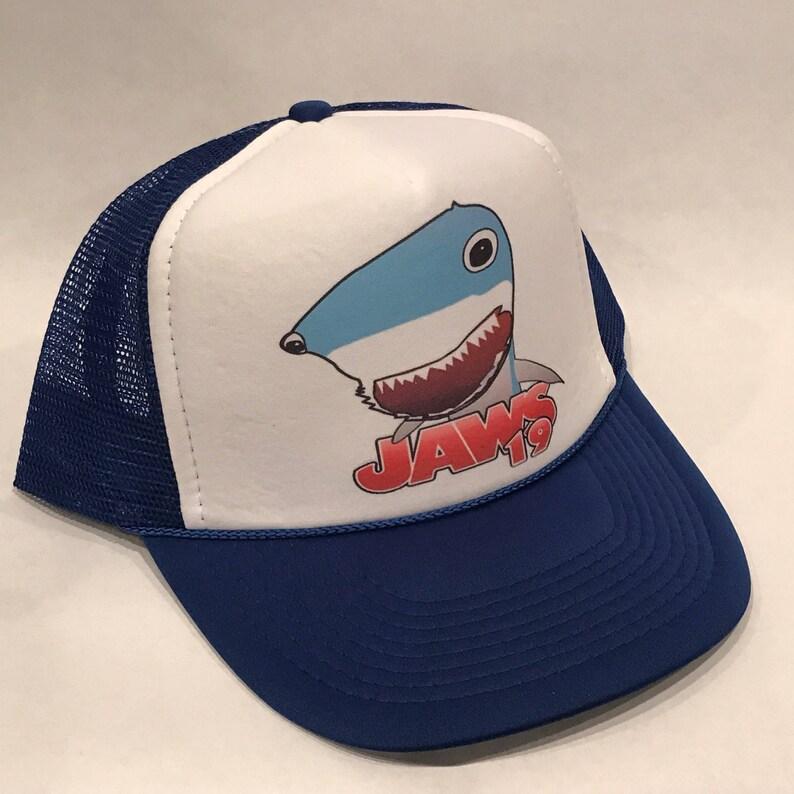 Jaws 19 Back To The Future Movie Trucker Hat Shark Promo Logo! Blue Vintage  Snapback Cap!