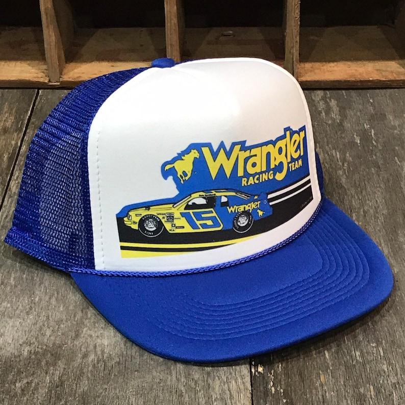 d61616e5d Wrangler Racing Team Vintage 80's Trucker Hat Nascar Dale Earnhardt Racing  Cap Blue