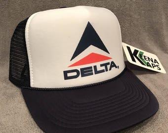 Delta Airlines Trucker Hat Vintage  Vacation Snapback Cap Navy Blue 2271