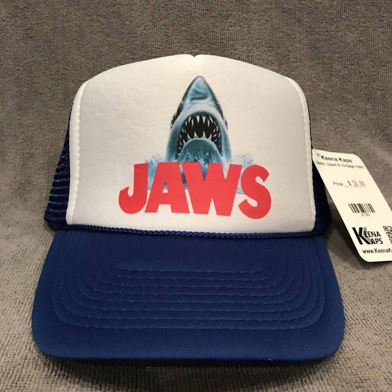 ebbf420cd Jaws Movie Trucker Hat Shark Promo Logo! Blue Vintage Snapback Cap! 2160