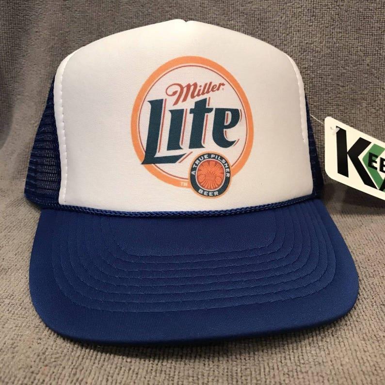 4af95dd46e6 Miller Lite Beer Trucker Hat Genuine Draft Vintage Snapback