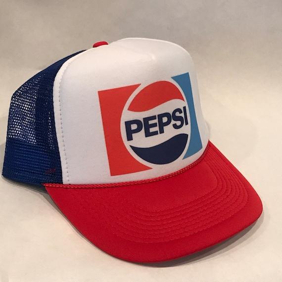 Pepsi Cola Soda Pop Trucker Hat Vintage Mesh Back Snapback  7647d4411208