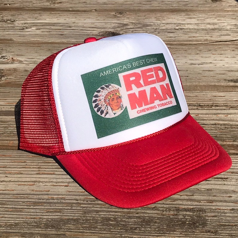 6bf74b63a56f0 Red Man Chew Pouch Tobacco Trucker Hat Vintage Snapback
