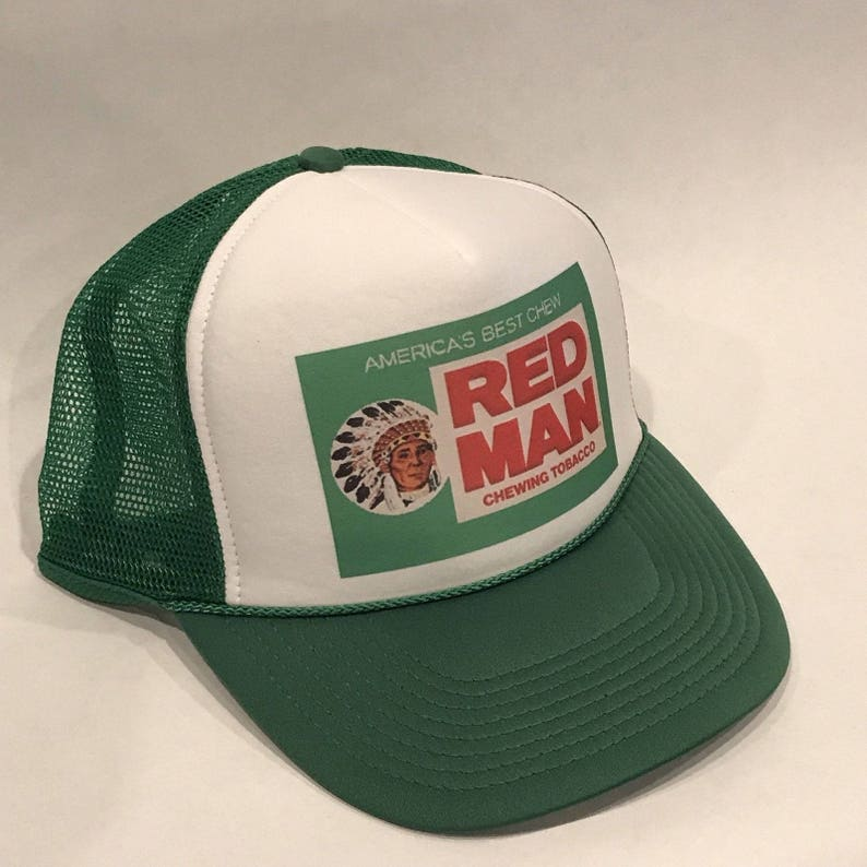 f9715fe0290 Red Man Chewing Tobacco Trucker Hat Vintage Snapback Cap Green
