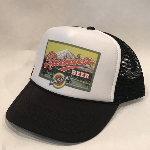 Rainier Beer Trucker Hat Vintage Washington Brewery Black Mesh  8fdd4ea71396