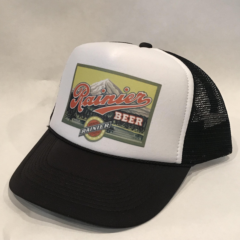 Rainier Beer Trucker Hat Vintage Washington Brewery Black Mesh  bf41b79ebfd