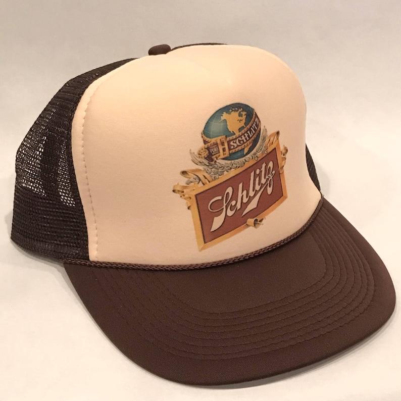 f86049719827a Schlitz Beer Trucker Hat Globe Logo Vintage Promo Party