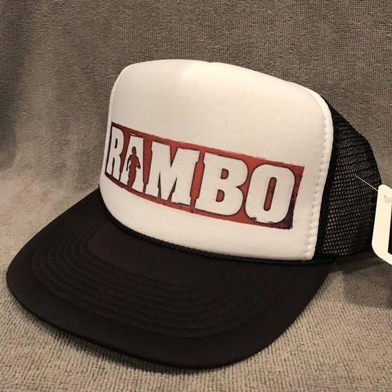 6118dc4e6c2 Rambo Movie Trucker Hat Sylvester Stallone Vintage Mesh