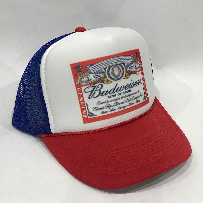 fefc23a79c0c1 Budweiser King of Beers Trucker Hat Bud Light Vintage 80 s Snapback Mesh  Beer Cap Red White Blue