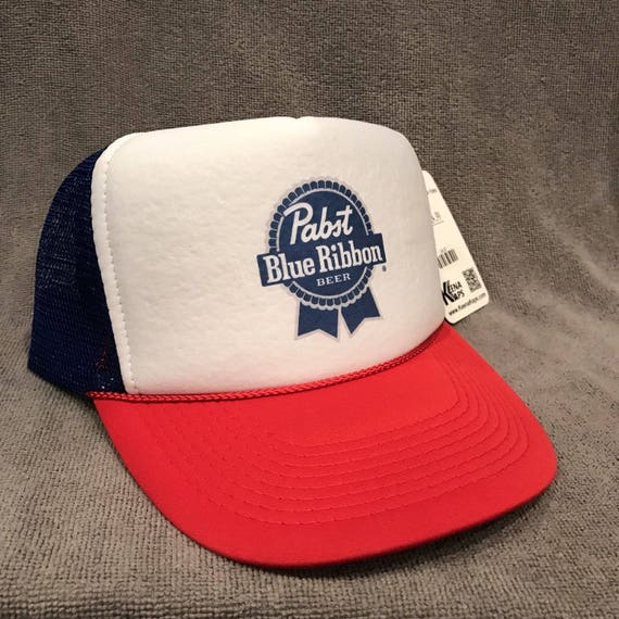 PBR Pabst Blue Ribbon Beer Trucker Hat Vintage Red White Blue  1b62aa2af01