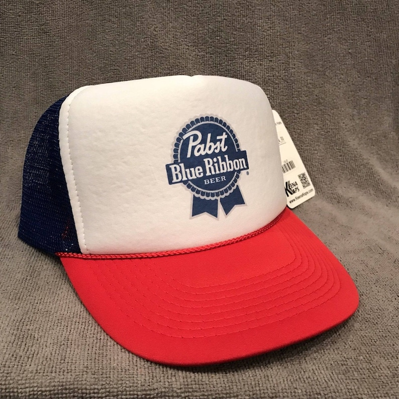 e22b95a6e11c7a PBR Pabst Blue Ribbon Beer Trucker Hat Vintage Red White Blue | Etsy