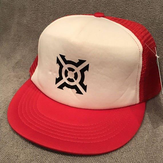 5582fb2d1b27f Red Target Foam Trucker Hat Vintage SnapBack Mesh Hitwear Cap