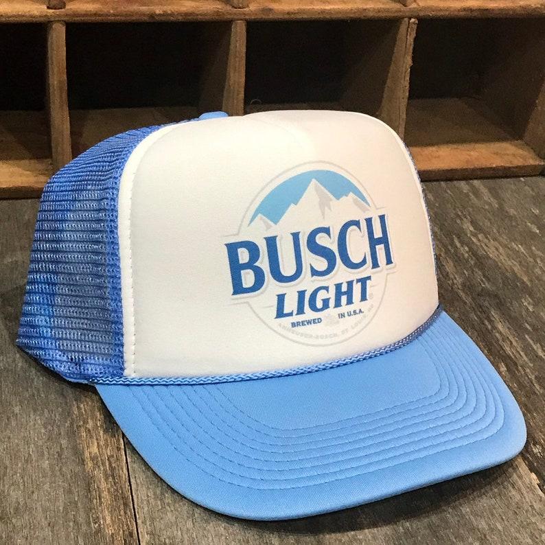 543d6a10507 Busch Light Beer Trucker Hat Brewery Vintage Snapback Cap Light Blue