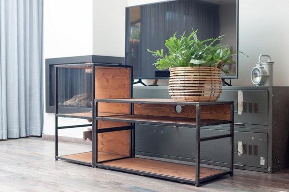 Industriële Tv Kast Platenspeler Staal En Hout Industrial Wood And Steel Tv Cabinet Record Player Steampunk Vintage Retro Living