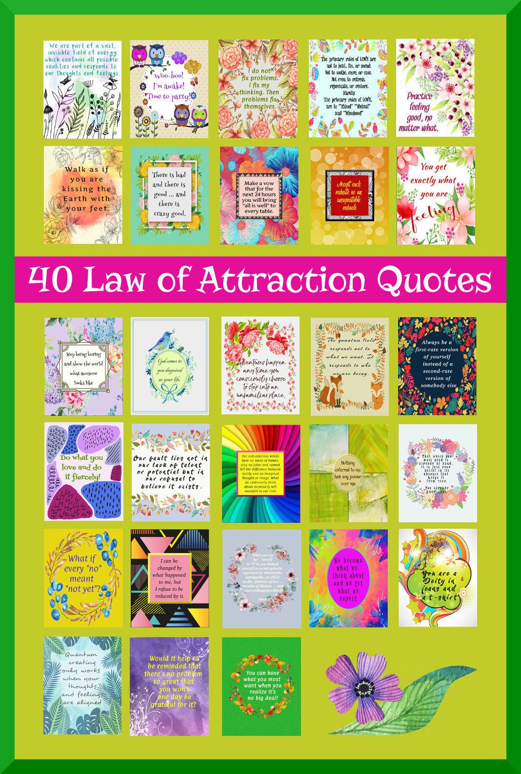 40 Law of Attraction Digital Quotes, Printable Quotes, Digital Quote Print,  Printable Quotes Inspiration, Quotes Prints, Commercial Use