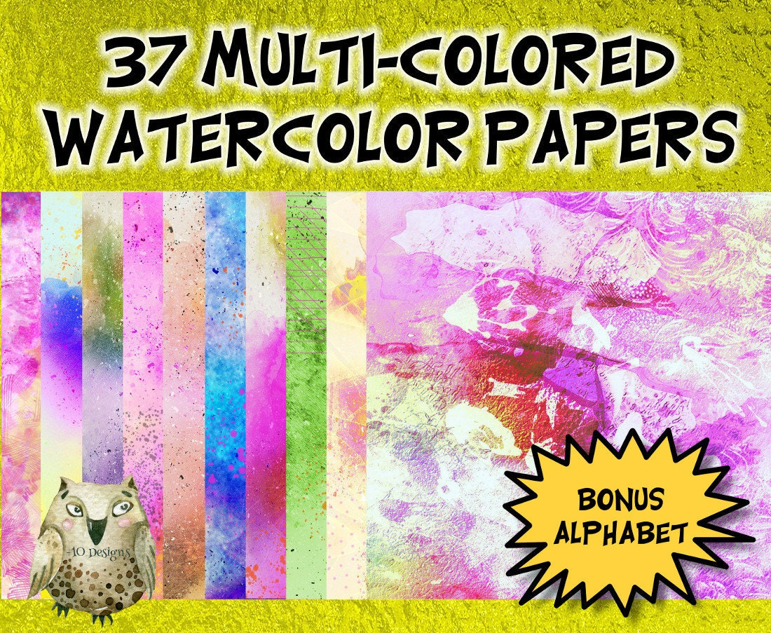 SALE 37 Vivid Multi-Colored Watercolor Digital Paper Pack with | Etsy