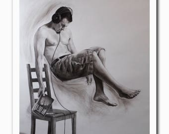 Justin Snodgrass: My Big TOE, 2011. Fine art giclée print from charcoal drawing. Available in quality poster paper or archival cotton rag.
