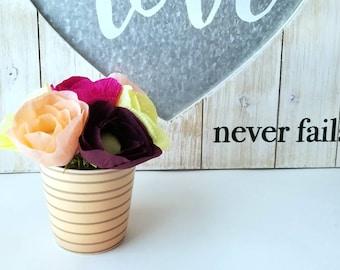 Mini paper flower arrangement, striped vase