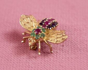 Vintage 14k Gold Bumble Bee Brooch with Gemstones